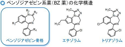 ベンゾジアゼピン骨格 上にあるベンゾジアゼピン骨格を保有している化合物であると、ベンゾジ...